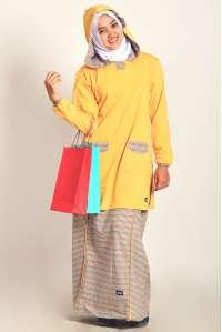 Setelan Kaos Muslimah Hoodie Yellow